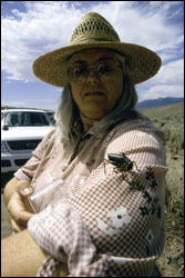 Rebecca Dias with a mormon cricket.